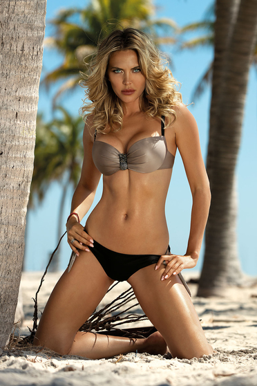 Brown swimsuit from two pieces brazilian bikini with balconette bra accessorized with breastpin