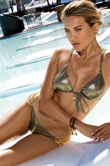 Brown swimsuit luxurious from two pieces metallic color gold metal details non-adjustable bikini