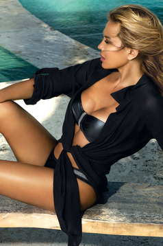 Black beach wear dress transparent fabric flared