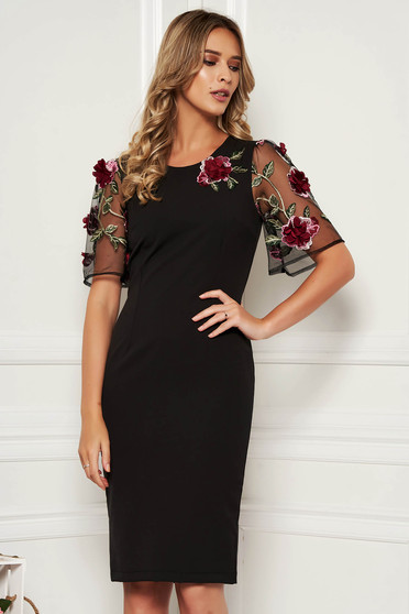 StarShinerS black elegant midi dress with tented cut slightly elastic fabric with floral details handmade details with crystal embellished details