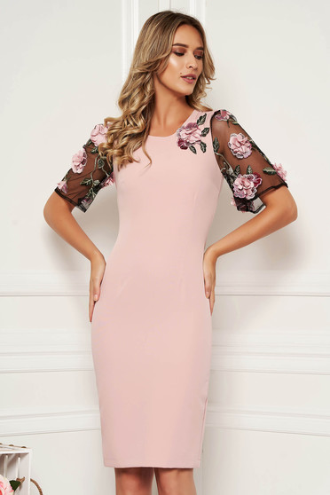 StarShinerS lightpink elegant midi dress with tented cut slightly elastic fabric with floral details handmade details with crystal embellished details