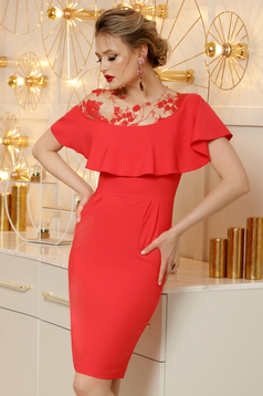 Coral dress elegant pencil cloth midi with ruffles on the chest back slit with sequin embellished details with embroidery details