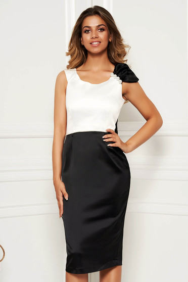 Black elegant dress frontal slit pencil with an accessory from satin fabric texture