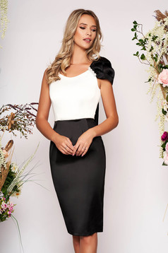 Black elegant dress pencil with an accessory from satin fabric texture midi occasional