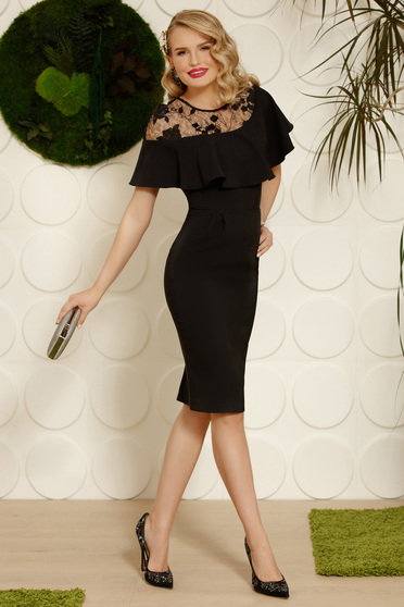 Black dress elegant pencil cloth midi with ruffles on the chest back slit with sequin embellished details with embroidery details