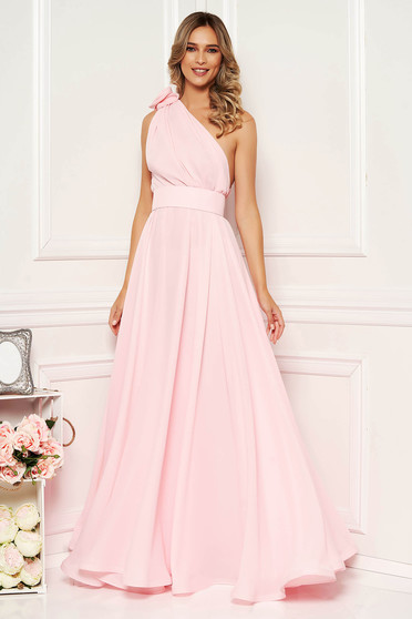 Ana Radu lightpink occasional cloche dress from veil fabric accessorized with tied waistband long one shoulder
