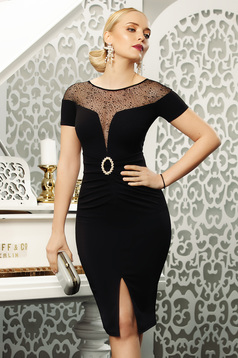 Black dress elegant occasional pencil midi stretch frontal slit net shoulders accessorized with belt
