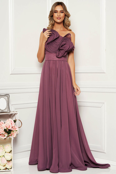 Ana Radu purple luxurious dress from veil fabric with inside lining with ruffle details accessorized with tied waistband one shoulder