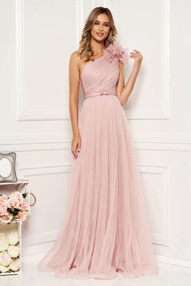 Lightpink luxurious cloche dress from tulle accessorized with tied waistband