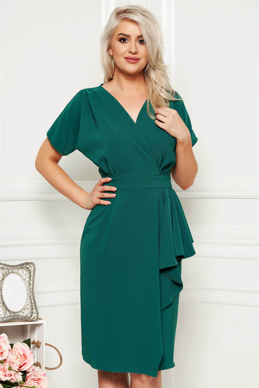 Green dress elegant daily midi peplum cut material with v-neckline cloth
