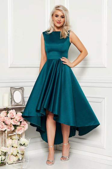 Green occasional asymmetrical cloche dress from satin fabric texture sleeveless elegant