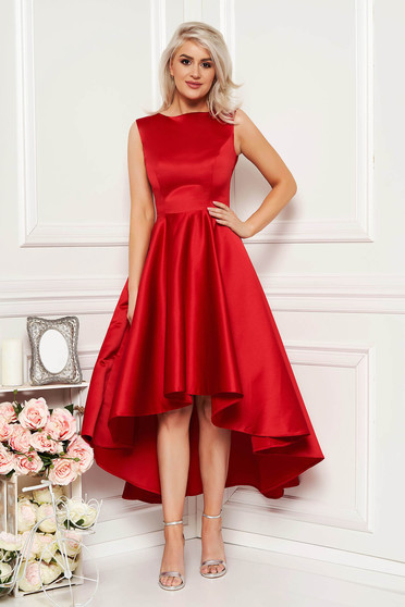 Red occasional asymmetrical cloche dress from satin fabric texture sleeveless elegant