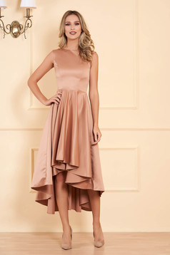 Cappuccino occasional asymmetrical cloche dress from satin fabric texture sleeveless elegant