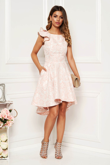 StarShinerS lightpink dress occasional elegant asymmetrical cloche with cut back with ruffled sleeves