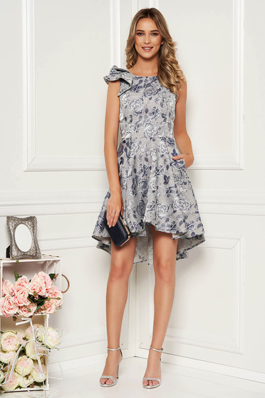 StarShinerS darkblue dress occasional elegant asymmetrical cloche with cut back with ruffled sleeves