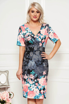 Darkgrey dress elegant daily pencil midi with v-neckline with floral print slightly elastic fabric