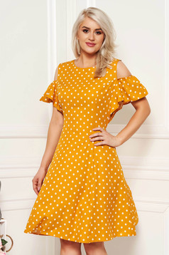 Mustard daily cloche dress slightly elastic fabric with dots print both shoulders cut out