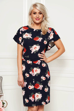 Darkblue elegant pencil dress short sleeve soft fabric with floral prints midi
