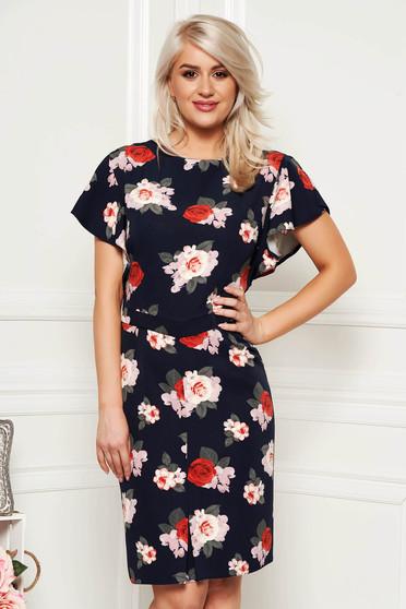 Darkblue elegant pencil dress short sleeve soft fabric with floral prints midi
