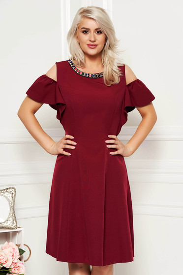 Burgundy daily cloche dress soft fabric metallic details both shoulders cut out