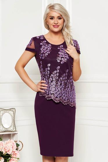 Purple elegant midi dress short sleeves thin fabric lace overlay straight