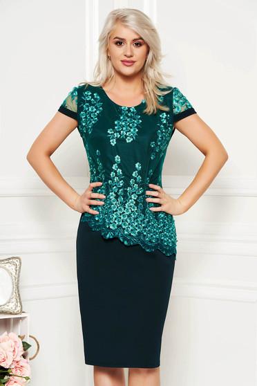 Green elegant midi dress short sleeves thin fabric lace overlay straight
