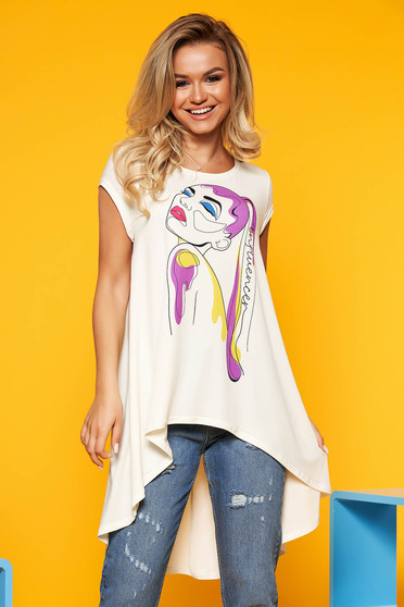 StarShinerS white women`s blouse casual flared asymmetrical with graphic details short sleeves neckline