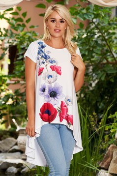 StarShinerS white women`s blouse casual asymmetrical flared short sleeves with floral print