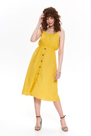 Yellow dress casual daily midi with elastic waist with button accessories