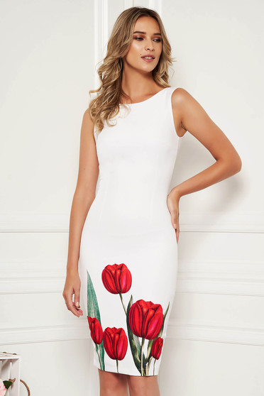 StarShinerS white dress elegant occasional pencil with floral print with cut back neckline