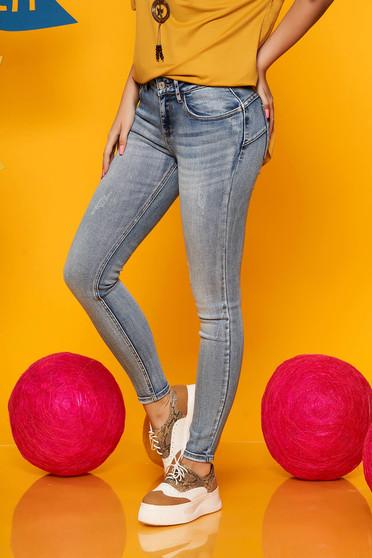 Blue jeans casual skinny jeans denim wwith medium waist