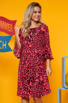 Red dress occasional animal print airy fabric with bell sleeve