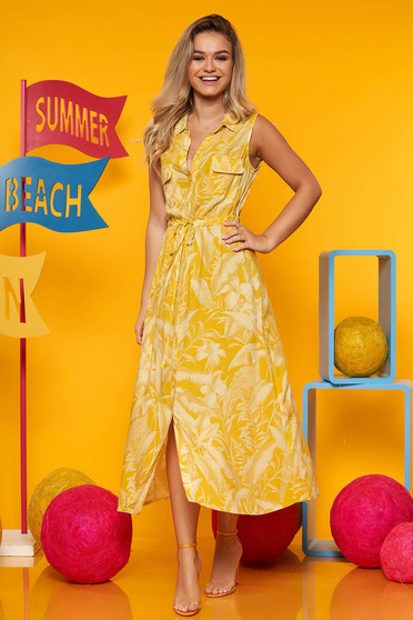 Yellow dress casual daily flared thin fabric with floral print sleeveless