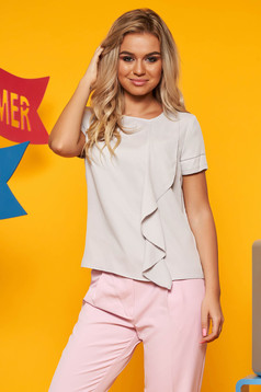 Grey women`s blouse short sleeve flared thin fabric neckline
