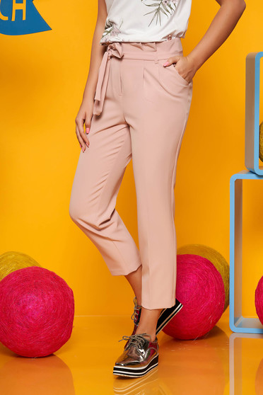 Lightpink trousers elegant cloth high waisted detachable cord with pockets
