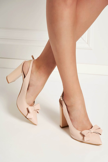 Lightpink shoes natural leather elegant bow accessory slightly pointed toe tip