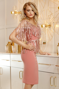 Lightpink dress occasional pencil corset cloth with v-neckline net shoulders with sequin embellished details