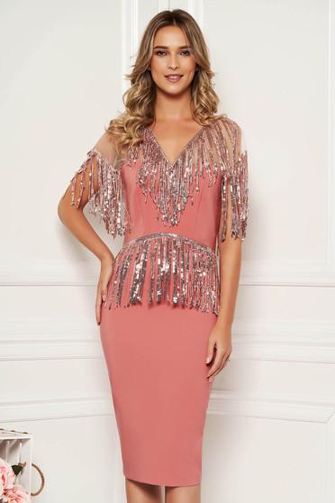Lightpink dress occasional pencil corset cloth with v-neckline net shoulders with sequin embellished details