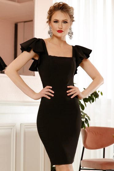Black occasional pencil dress slightly elastic fabric lace and sequins details