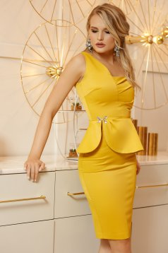 Mustard occasional dress with tented cut with frilled waist soft fabric with crystal embellished details