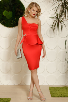 Coral occasional dress with tented cut with frilled waist soft fabric with crystal embellished details