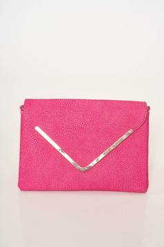 Pink bag casual from ecological leather dettachable shoulder strap clutch