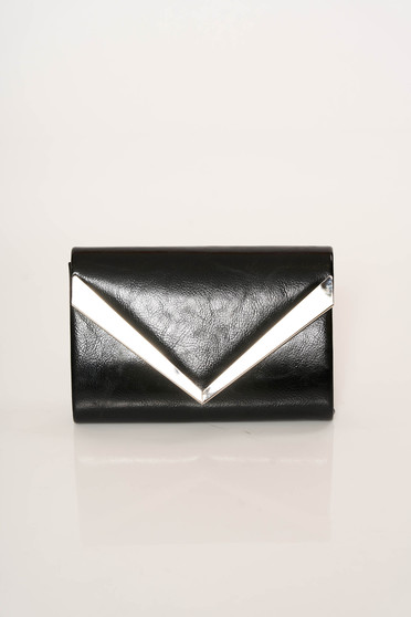 Black bag elegant clutch from ecological leather accessorized with chain
