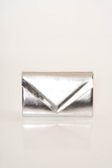 Silver bag elegant clutch from ecological leather accessorized with chain