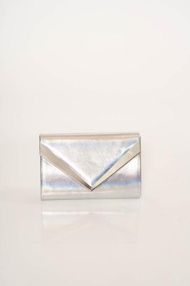 Silver bag clutch occasional metallic chain accessory detachable chain