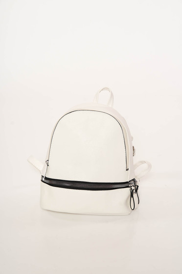 White backpacks casual from ecological leather zipper accessory