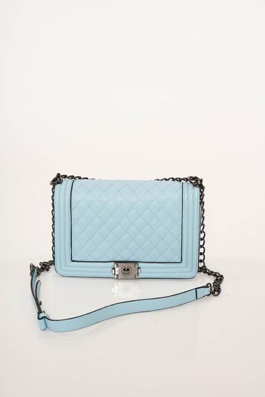 Elegant lightblue bag metallic buckle from ecological leather