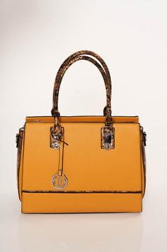Mustard bag elegant from ecological leather snake print dettachable shoulder strap