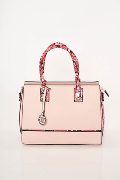 Lightpink bag elegant from ecological leather snake print dettachable shoulder strap