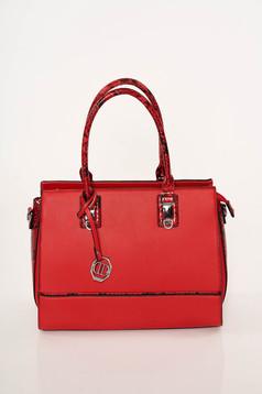 Red bag elegant from ecological leather snake print dettachable shoulder strap